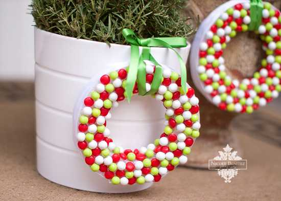 DIY CAndy Wreath Tutorial by A Blissful Nest.
