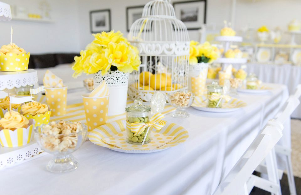 Bn black book of parties bright yellow and white 12th for Afternoon tea decoration ideas
