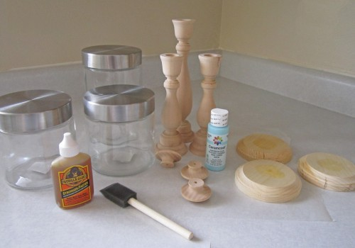 Materials need for Easter Candlestick Candy Jars Tutorial