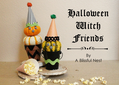 DIY Witch Pumpkin Topiaries