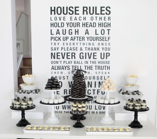 BN Black Book Of Parties And White Dessert Table