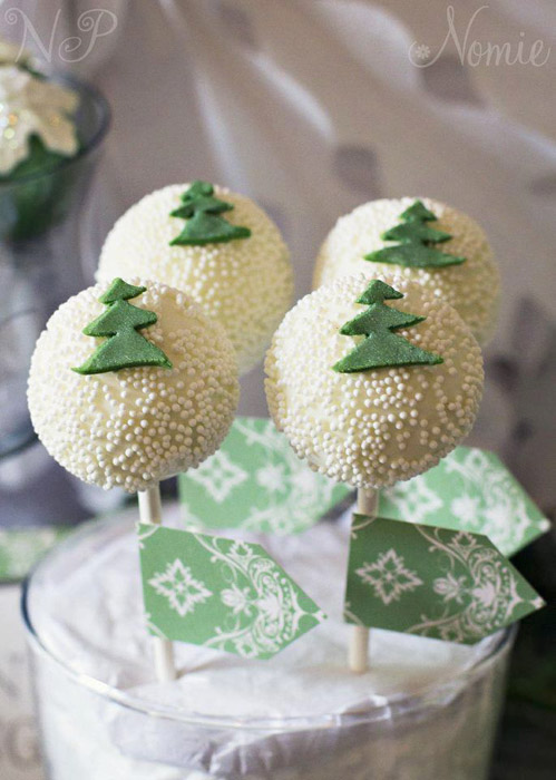 white cake pops with green trees