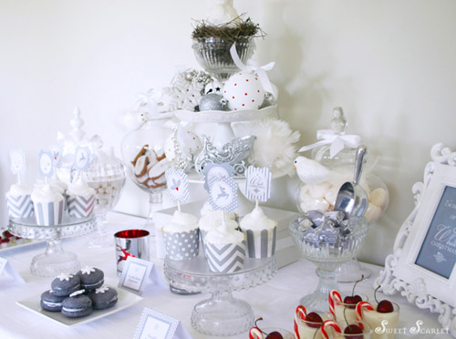 Bn Black Book Of Parties White Christmas Dessert Table