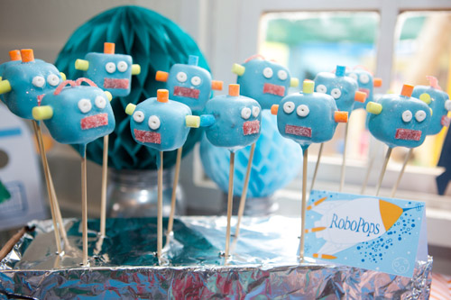 Rockets and Robots space party robot cake pops
