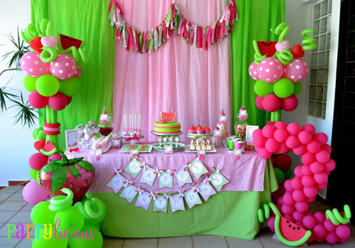 Watermelon Berry Birthday party dessert table
