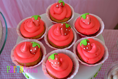 Watermelon Berry Birthday party cupcakes