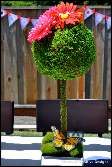 Alice in Wonderland party topiary