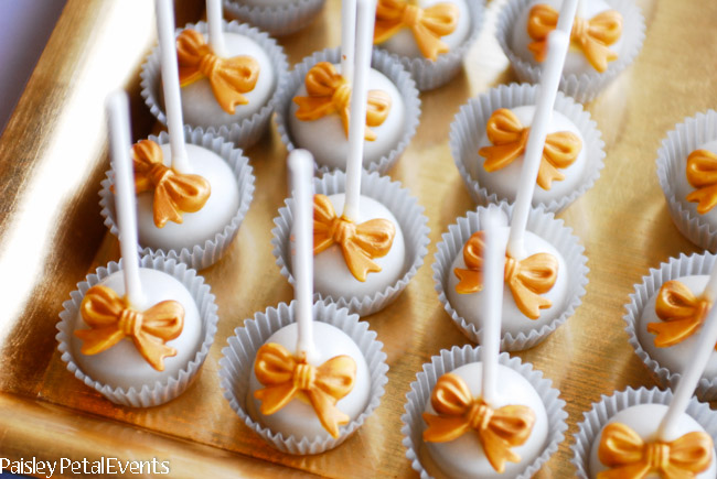 50th wedding anniversary cake pops with bows