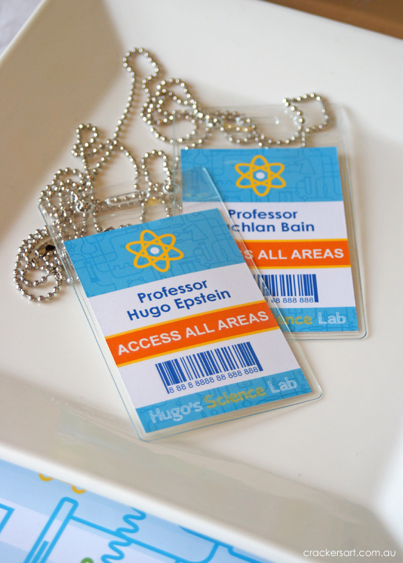 Science party ID badges