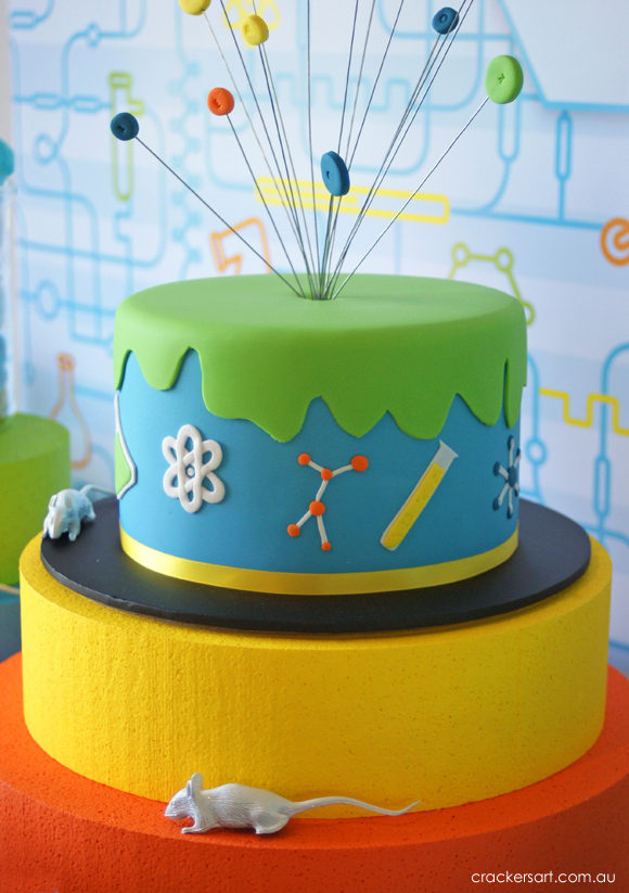 Science-themed party cake